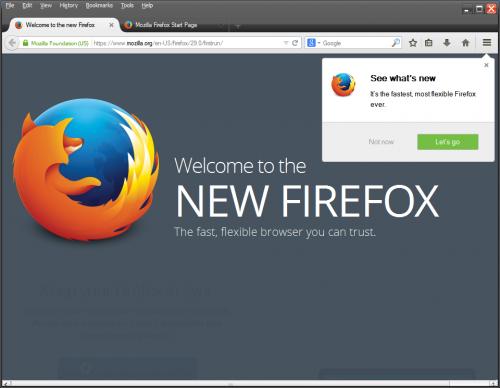 Главное окно Firefox 29.0