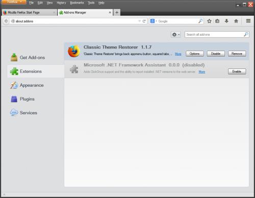 Окно настройки расширений Firefox 29.0