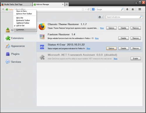 Контекстное меню панелей в Firefox 29.0
