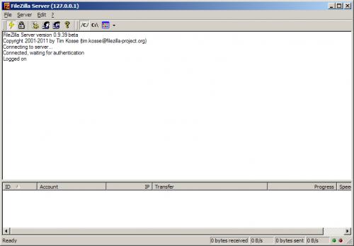 Панель администратора FileZilla Server