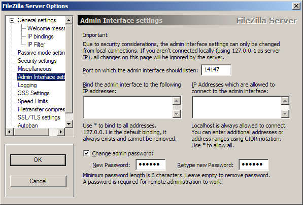 Admin Interface settings
