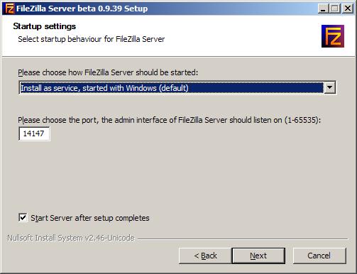 Тип запуска службы сервера