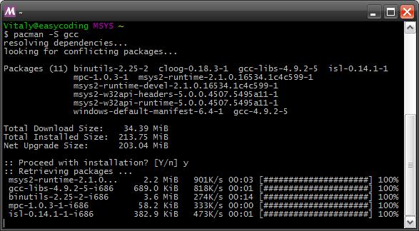 Загрузка пакетов MSYS2