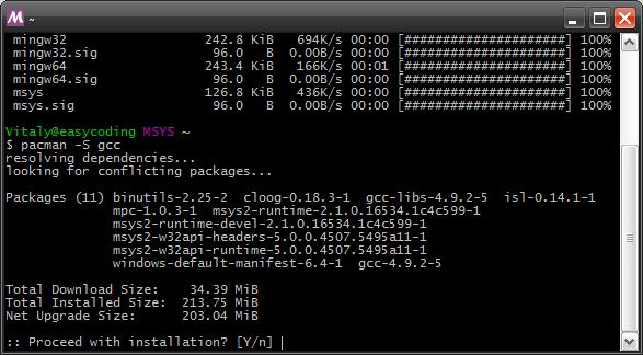 Установка пакетов MSYS2