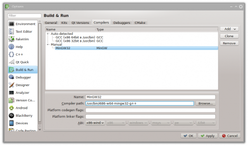 Настройки компиляторов в Qt Creator
